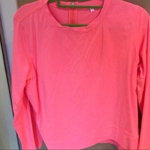 Lululemon Bright Peachy-Pink Long Sleeve Zip Crew